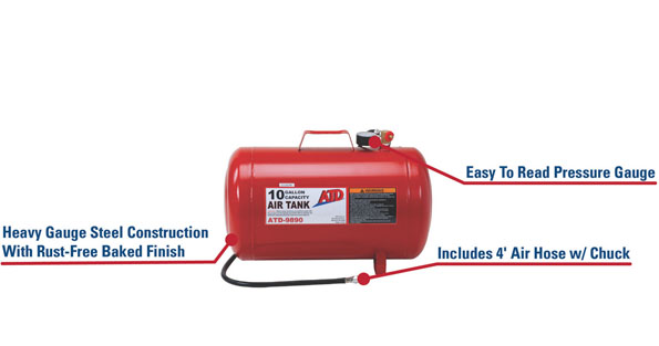 ATD 9890 10 Gallon Air Tank features