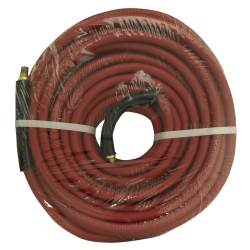 "Apache 3/8"" x 50' Red Rubber Hose Coupled Brass 1/4"" Male x Male APH21777"