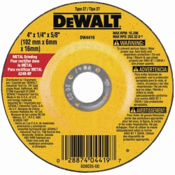 "Dewalt Tools 4"" x 1/4"" x 5/8"" High Performance Metal Grinding Wheel DWTDW4419"
