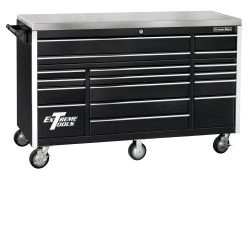 "E-Z Red Black 72"" 17 Drawer Triple Bank Roller Cabinet EXTEX7217RCBK"
