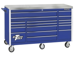 "E-Z Red Blue 72"" 17 Drawer Triple Bank Roller Cabinet EXTEX7217RCBL"