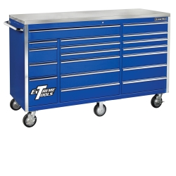 "E-Z Red Blue 72"" 18 Drawer Triple Bank Roller Cabinet EXTEX7218RCBL"