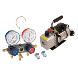 FJC Inc KIT6M Vacuum Pump and Aluminum Block Manifold Gauge Set with Manual Couplers - FJCKIT6M