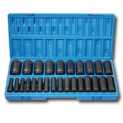 "Grey Pneumatic 1/2"" Drive 26 Piece 12 Point Deep Length Metric Impact Socket Set GRE1726MD"