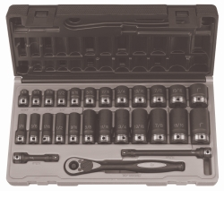"Grey Pneumatic 3/8"" Drive 27 Piece Standard and Deep Fractional 6 Point Duo-Socket™ Set GRE81627RD"