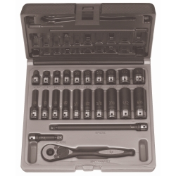 "Grey Pneumatic 1/4"" Drive 23 Piece Standard and Deep Fractional 6 Point Duo-Socket™ Set GRE89623RD"