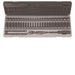 "Grey Pneumatic 1/4"" Drive 53 Piece Standard and Deep Fractional and Metric 6 Point Duo-Socket™ Set GRE89653CRD"