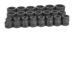 "Grey Pneumatic 21 Piece 1"" Drive 6 Point Fractional Impact Socket Set GRE9021"