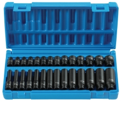"Grey Pneumatic 28 Piece 1/4"" Drive 6 Point Standard and Deep Metric Impact Socket Set GRE9728M"