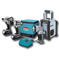 Makita 4 Piece 18 Volt Compact Lithium-Ion Combo Kit MAKLCT400W