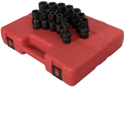 "Sunex Tools 1/2"" Drive 13 Piece Metric Universal Impact Socket Set SUN2665"