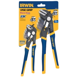 "Vise Grip 2 Piece GrooveLock 8"" V-Jaw and 10"" Straight Jaw Pliers Set - VGP1802533"