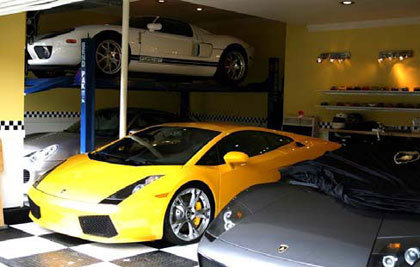 BendPak car storage lift - yellow Lamborghini