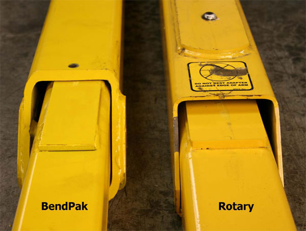 BendPak and Rotary Arms Construction Thickness Comparison