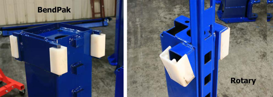 BendPak and Rotary Carriage Slide Blocks Comparison