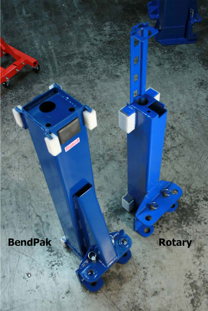 BendPak and Rotary Carriage Top View Comparison