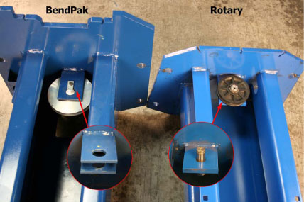 BendPak and Rotary Column Bottom Sheave Comparison