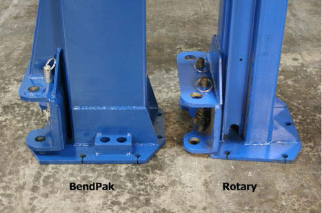 BendPak and Rotary Column Side Bottom Comparison