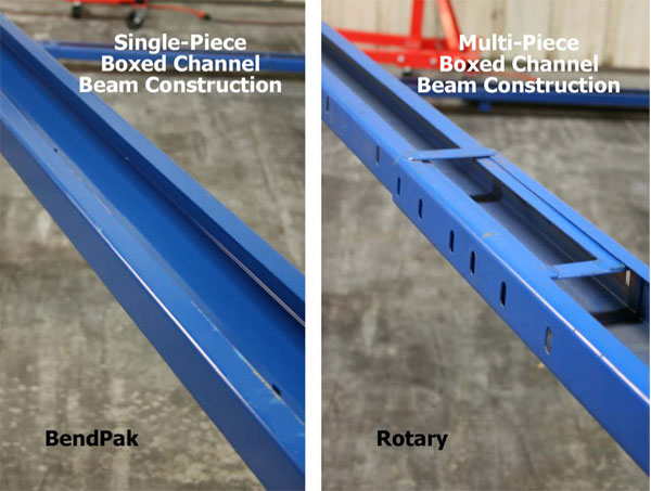 BendPak and Rotary Top Beam Construction Comparison