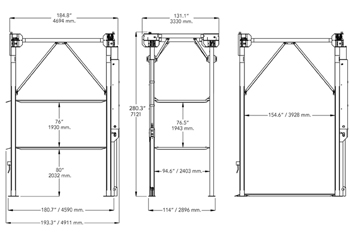 BendPak PL-1400 3 level 4-Post Parking Lift Specifications