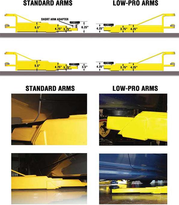 3pt Extendable Low Lift Arms : Bendpak xpr as asymmetric dual width two post car lift