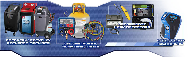 Air Conditioning: A/C Diagnostic Tools, A/C Flush, Recovery Recycle Recharge Machines, Refrigerant Leak Detectors, Robinair