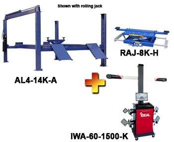 AL4-14K-A-IWA-60-1500-K Includes:  Auto Lift AL4-14K-A 4 Post Alignment Rack, iDeal IWA-60-1500-K 3D Image Wheel Alignment System, and one Auto Lift RAJ-8K-H Rolling Air Jack