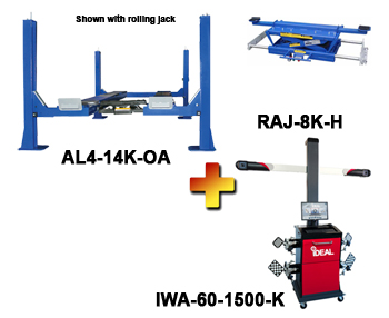 AL4-14K-OA-IWA-60-1500-K Includes:  Auto Lift  AL4-14K-OA Post Alignment Rack, iDeal IWA-60-1500-K 3D Image Wheel Alignment System, and one Auto Lift RAJ-8K-H Rolling Air Jack
