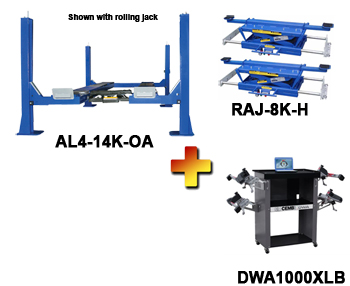 AL4-14K-OA-Combo, Includes Auto Lift AL4-14K-OA 4 Post Alignment Rack, CEMB DWA1000XLB Wireless Basic Wheel Alignment System, Auto Lift RAJ-8K-H Rolling Air Jack (Set of 2)