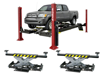 Challenger 4015XFO 4015series Ex-Length Open Front Flat Deck Four Post Lift 15,000 lbs & Qty 2 RJ7.5 7,500lb Rolling Jack
