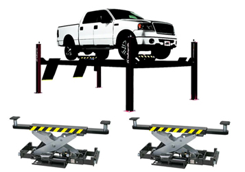 Challenger 4P14EFX 4P14series Hydraulic Four Post Lifts 14,000 lbs & Qty 2 RJ7.5 7,500lb Rolling Jack