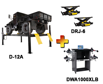 D-12A-Combo Includes: Dannmar D-12A 4 Post Alignment Rack, CEMB DWA1000XLB Wireless Basic Wheel Alignment System, & Dannmar DRJ-6 Rolling Bridge Jack (Set of 2)