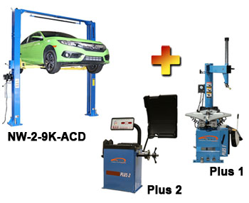 "NW-2-9K-ACD-Combo-1 Includes: Nationwide NW-2-9K-ACD Asymmetric & Symmetric 2 Post Car Lift 9,000 lbs, Talyn Plus 1 Tire Changer w/Adjustable Clamps, & Talyn Plus 2 Wheel Balancer with 40"" Max. Tire Diameter"