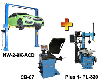 NW-2-9K-ACD-Combo-4 Includes: Nationwide NW-2-9K-ACD Asymmetric & Symmetric 2 Post Car Lift 9,000 lbs, Talyn Plus 1 Tire Changer w/Adjustable Clamps & PL330 Assist Arm, & Talyn CB-67 Highly Accurate Wheel Balancer w/European Design