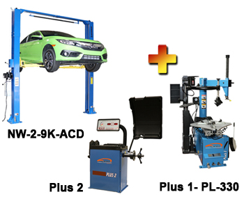 """NW-2-9K-ACD-Combo-2 Includes: Nationwide NW-2-9K-ACD Asymmetric & Symmetric 2 Post Car Lift 9,000 lbs, Talyn Plus 1 Tire Changer w/Adjustable Clamps & PL330 Assist Arm, & Talyn Plus 2 Wheel Balancer with 40"""" Max. Tire Diameter"""
