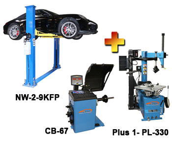 NW-2-9KFP-Combo-4 Includes: Nationwide NW-2-9KFP 2 Post Symmetric Floor Plate Car Lift Car Lift 9,000 lbs, Talyn Plus 1 Tire Changer w/Adjustable Clamps & PL330 Assist Arm, & Talyn CB-67 Highly Accurate Wheel Balancer w/European Design