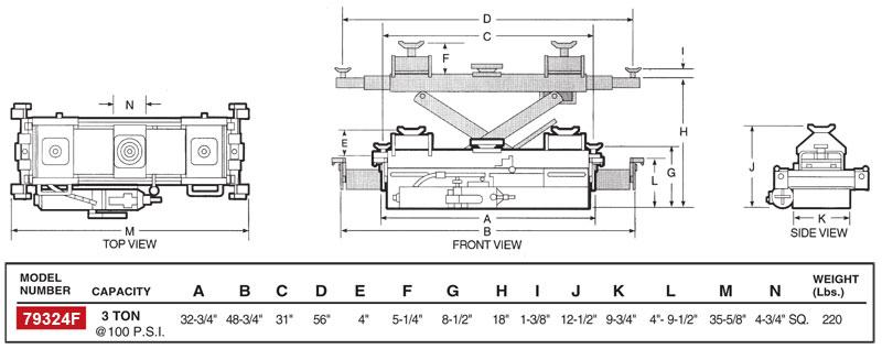 Norco 79324F 3 Ton Capacity Air/Hydraulic Pump Operated Rolling Lift Bridge