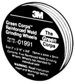 "3M™ 3"" x 3/16"" x 3/8"" 5-pack Green Corps™ Re-inforced Weld Grinding Wheels MMM1991"