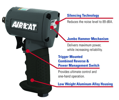 AIRCAT® 1055-TH 1/2in Compact Impact Wrench features