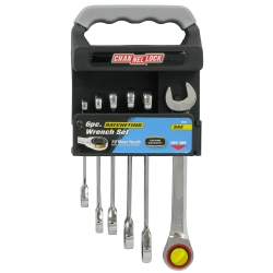 6 Piece SAE Ratcheting Wrench Set with Storage Rack CHA38040