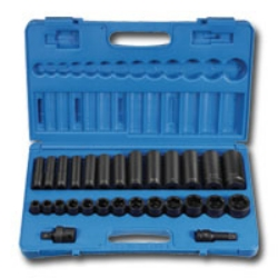 "Grey Pneumatic 1/2"" Drive 28 Piece Standard and Deep Length Impact Socket Set GRE1328RD"