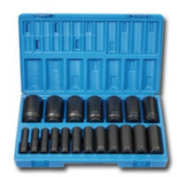"Grey Pneumatic 1/2"" Drive 19 Piece 12 Point Deep Fractional Impact Socket Set GRE1719D"