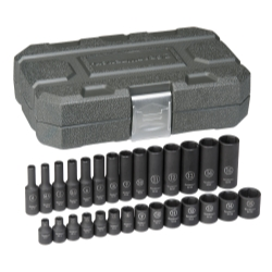 "KD Tools 1/4"" Drive 28 Piece 6 Point Metric Standard and Deep Impact Socket Set KDT84901"