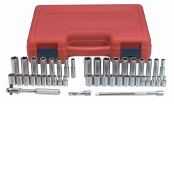 "K Tool International 1/4"" Drive 44 Piece 6 Point SAE and Metric Standard and Deep Socket Set KTI21044"