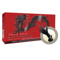 Micro Flex Medium Black Dragon® Powder Free Black Latex Exam Gloves MFXBD1002PF-M