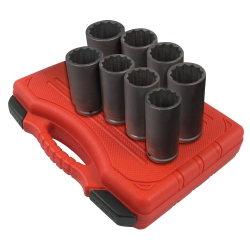 "Sunex 1/2"" Drive Deep 12 Point Spindle Nut Impact Socket Set- SUN2835"