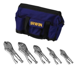 Vise Grip 5 Piece Locking Pliers Set in a Canvas Tool Tote Bag VGP2077704