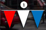 red, white and blue triangle pennant streamer flags strands