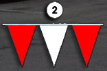 red and white triangle pennant streamer flags strands
