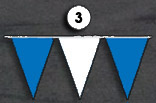 blue and white triangle pennant streamer flags strands